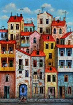 Oil painting Georgia art Tbilisi by UkrainianWeddingArts on Etsy House Drawing, Naive Art, Painting Inspiration, Home Art, Painting & Drawing, Watercolor Paintings, Art Projects, Art Drawings, Illustration Art