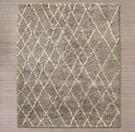 Restoration Hardware's Noura Moroccan High-Pile Wool Rug - Taupe:Masterfully hand knotted from wool and cotton, this rug is sheared to an extra-long pile. The design gets its character from imperfect lines and naturally variegated wool. Imported. 80% wool, 20% cotton. Our rugs are artisan crafted and no two are alike. Given their handwoven nature, slight variations in shading and size are inherent to the design.