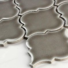 $10.25 a Square Foot for Dove Gray Crackle Arabesque from MS International. The lowest price available in the USA. Backsplash Arabesque, Arabesque Tile, Arabesque Pattern, Kitchen Backsplash, Backsplash Ideas, Granite Kitchen, Kitchen Counters, Tile Ideas, Countertops