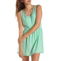 Mint Skater Dress by Charlotte Russe. Buy for $14 from Charlotte Russe