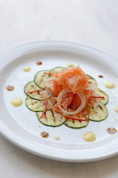 zucchini carpaccio with smoked salmon - gourmet entree in less than 15 minutes.