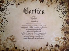 Items similar to Carlton First Name Meaning Art Print-Personalized-Name Ordinate-Home Decor-Wall Art-Birthday-Father's Day on Etsy Popular Last Names, Meaning Of My Name, First Names, Baby Names, Pretty Names, 10 Frame, Art Birthday, Art Background, Home Decor Wall Art