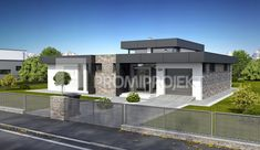 katalogové projekty rodinných domov - Linear 324 Modern Bungalow House, Modern House Facades, Small Modern House Plans, Contemporary House Plans, House Plans Mansion, My House Plans, Flat Roof House, Facade House, Architectural House Plans