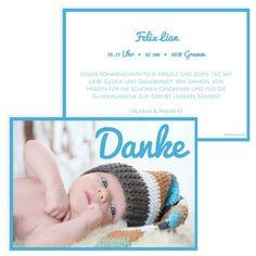 """Mir der Geburtskarte oder Dankeskarte """"Danke"""" bringst Du es ganz genau auf den Punkt. Lass Dir deine individuelle Geburtskarte von ClassyCards designen. #classycards #geburtskarten #babykarten #dankeskarten #baby #geburt Designs, Crochet Hats, Baby Delivery, Thanks Card, Full Stop, Postcards, Gifts, Knitting Hats"""