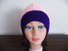 Knitted Pink and Purple  Hat