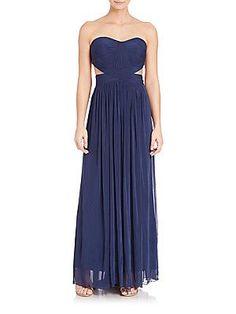 La Femme Jersey Cutout-Detail Gown - Navy - Size