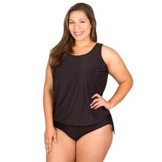 Wear Your Own Bra Plus Size Swimwear Top - Solid Black