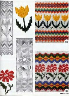 California poppy and Tulip fair isle design Fair Isle Knitting Patterns, Fair Isle Pattern, Knitting Charts, Knitting Stitches, Knitting Designs, Knit Patterns, Knitting Projects, Cross Stitch Patterns, Fair Isle Chart
