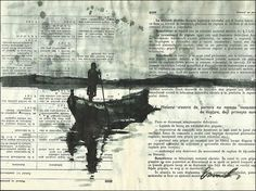 Boatman - Ink Drawing on Book Pages
