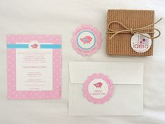 Invitaciones para Bautizos, Baby Showers, Primeras Comuniones… Stickers… Tarjetas Personales Pajarito Rosa ilustrado a mano