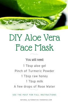 Simple and easy DIY aloe vera face mask recipe. Make a paste from all ingredients except for the aloe gel. Add the aloe gel to the paste and mix it well. Apply the paste to your face and neck evenly and leave for 20 minutes.  Wash it off with lukewarm water and pat dry with a clean towel. Repeat once a week.