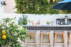 outdoor bar, Mediterranean tile border