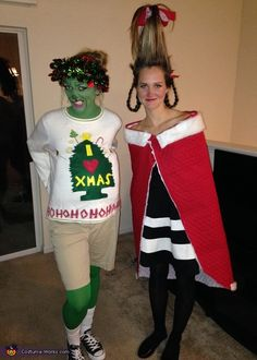christmas costumes college Weihnachtskostme Cindy Lou Cindy Lou Who amp; The Grinch Couples Costumes Grinch Halloween, Funny Christmas Costumes, Grinch Christmas Party, Xmas Costumes, Grinch Party, Halloween Costume Contest, Diy Costumes, Diy Whoville Costumes, Who From Whoville Costume