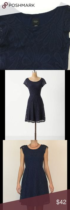 Anthropologie Deletta Floral crochet dress This dress is adorable. Fit and flare style with a large daisy floral print crochet pattern and fully lined with a soft jersey layer. So comfortable and flattering... looks so cute with a belt and cardigan.  EUC. Anthropologie Dresses