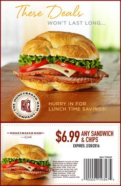 The best kind of lunch break is one that saves you a few extra bucks, right? We agree. Print this HoneyBaked coupon and come see us! Lunch Time, Salmon Burgers, Coupons, Sandwiches, Chips, Ethnic Recipes, Food, Potato Chip, Essen