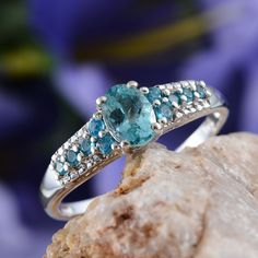 Madagascar Paraiba Apatite and Malgache Neon Apatite Ring in Platinum Overlay Sterling Silver (Nickel Free)