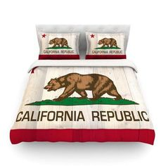 KESS InHouse California Flag Wood by Bruce Stanfield Featherweight Duvet Cover