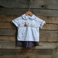 Vintage Unisex Children's  Plaid Smocked School Outfit by vintapod