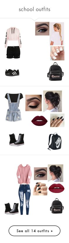 """school outfits"" by nedy3242006 on Polyvore featuring adidas, Charlotte Russe, Helmut Lang, NIKE, Converse, WithChic, Incoco, BP., Paige Denim and Vans"