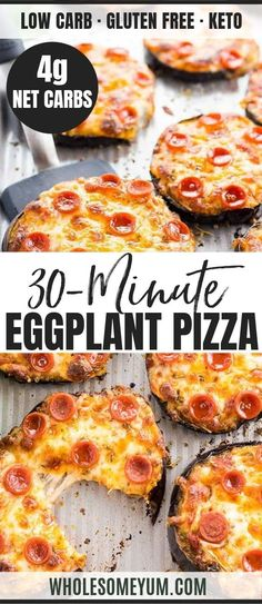 Easy Mini Eggplant Pizza Recipe - Low Carb - This easy low carb eggplant pizza recipe needs just 6 ingredients! See how to make eggplant pizza faster than other methods - only 30 minutes total. Low Sugar Recipes, Healthy Low Carb Recipes, Fun Easy Recipes, Low Carb Dinner Recipes, Keto Recipes, Breakfast Recipes, Vegetarian Recipes, Cooking Recipes, Breakfast Ideas