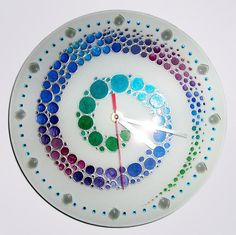 Hand painted glass wall clock Colorful wall glass by ArwenFantasy