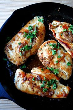 Chicken with Honey-Beer Sauce - 245 calories. This is seriously good chicken. The flavor is to die for, especially when cooked in a cast iron skillet.