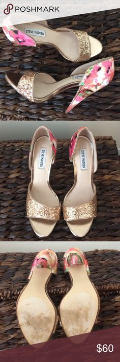 Steve Madden stunners! These Steve Madden heels are one-of-a-kind! Beautiful floral print on the back and stunning gold sparkle on the front! Dress them up or down. They will make the outfit! Worn once in a wedding. Steve Madden Shoes Heels