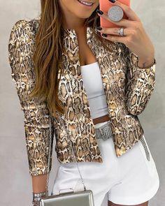 Estilo Fashion, Love Fashion, Womens Fashion, Teen Fashion Outfits, Women's Fashion Dresses, Black Sequin Jacket, Animal Print Outfits, Street Style Women, Streetwear Fashion