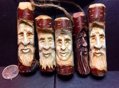 Woodspirit pendants hand carved by Elizabeth Brown, Liverpool, NS. Wood Carving Art, Wood Carvings, Wood Art, Elizabeth Brown, Wooden Walking Canes, Whittling Wood, Tree People, Walking Sticks, Dremel