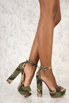 d567722ca6a77 Sexy Camouflage Canvas Open Toe Platform Pump Chunky High Heels
