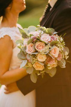 Blush Pink Rose Bouquet - Urška & Domen Photography | Outdoor Ceremony at Ruin Monastery Žiče Charterhouse in Slovenia | Blush Pink Reception | Romantic Lace & Tulle Wedding Dress from Poročni Kotiček Bridal Boutique