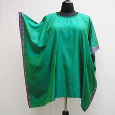 Green caftan, Plus size Caftan, silk emerald caftan, plus size tunic, cover up, sari caftan, boho kaftan, 1x 2x 3x 4x 5x 6x, upcycled tunic by Rethreading on Etsy