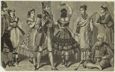"1868 fancy dress or costume plate. Below each figure, left to right: ""Tyrolean, Swede, Italian, Sergeant Fritz, Spaniard, Chinese, Pacha, Greek."""