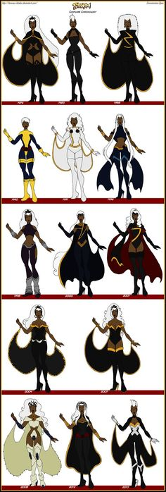 X-Men - Storm Comic Costume Chronology by Femmes-Fatales on DeviantArt