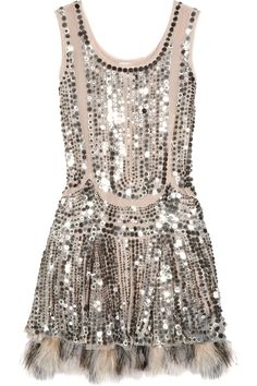 Anna Sui  | Silver Sequins & Fur Dress  | The House of Beccaria