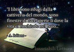 """""""I libri sono rifugi dalla cattiveria del mondo, sono finestre di luce aperte lì dove la vita ci rinchiude nel buio..."""" - A. Iuliano - https://www.facebook.com/459565754089148/photos/a.506779909367732.1073741826.459565754089148/868359269876459/?type=1&theater"""
