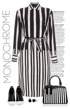"""Monochrome"" by molly2222 ❤ liked on Polyvore featuring Paul Smith, Greymer, Bling Jewelry, Jezzelle, monochrome, stripes, blackandwhite, shirtdress and stripedhandbag"