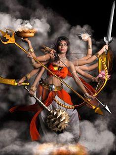A young girl is themed at Godess Durga, the destroyer of evil and terminator or darkness. Thanks Durga: The Warrior Princess Kali Goddess, Indian Goddess, Mother Goddess, Goddess Art, Maa Durga Image, Durga Maa, Shiva Shakti, Happy Navratri Images, Kali Mata
