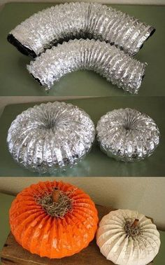 Dryer Vent Pumpkins - EASY! Take an old dryer vent and spray the crummy end with spray adhesive and shove it into the good end. Apply spray paint and wait to dry. Use Cinnamon sticks for the stem! #UPCYCLE!