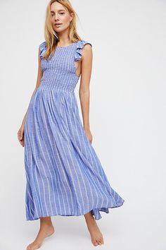 Chambray Butterflies Midi Dress | Free People