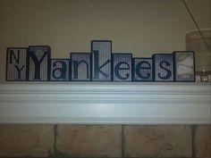 NY Yankees Baseball Customized Handmade Blocks