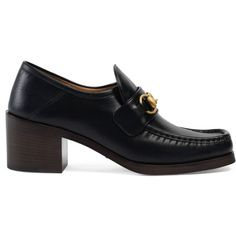 Gucci Leather Horsebit Loafers ($695) ❤ liked on Polyvore featuring shoes, loafers, black, black low heel shoes, black loafers, gucci shoes, square toe shoes and leather shoes