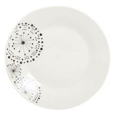 Assiette à dessert porcelaine pissenlits blanc/noir 19cm - Lot de 6 PISSENLIT