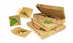 Smart pizza box design! Easily converts into 4 plates & into smaller leftovers box.  Will any chain be smart enough to start using this design?