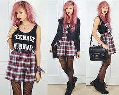 London Loves La Teenage Runaway Tank, In Love With Fashion Tartan Skirt, 50 Limes Pleather Jacket, Anna Smith Bailey Studded Black Satchel, Dr. Martens Patent Boots