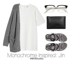 """""""Monochrome Inspired: Jin"""" by btsoutfits ❤ liked on Polyvore featuring Monki, ASOS, RetroSuperFuture and Jil Sander"""