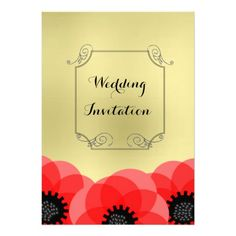 Red and Gold Whimsical Poppies and Scrolls Custom Invites