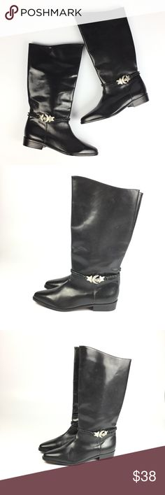 """Vintage Seychelles Moon & Stars Riding Boots / 9 Awesome pair of vintage boots.  Label: Seychelles. Made in Brazil. Black leather with metal moon and stars accent. Very good vintage condition. A few light scuffs. Ladies vintage size 9 M. 14 1/4"""" tall. 1"""" heel. 10 5/8"""" toe to heel. 3 5/8"""" at widest bottom of foot. 16 1/4"""" circumference around top. Seychelles Shoes Heeled Boots"""
