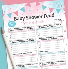 Here's a fun family feud game for your gender reveal baby shower! You can instantly purchase and download this game in our Etsy shop! #BabyShowerGames #BabyShower #GenderReveal #PrintJoyStudio #FamilyFeud Gender Reveal Games, Baby Shower Gender Reveal, Family Feud Game, Baby Shower Printables, Baby Shower Games, Baby Shower Decorations, New Moms, Babyshower, Shower Ideas