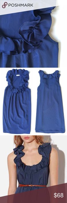 Pins & Needles Ruffle Shift Dress Dark blue shift dress with ruffle detailing on the front along the neckline. Brand: Pins & Needles from Urban Outfitters. Adorable belted, or loose, with a light flowy material. Condition: excellent, this material holds up really well, always delicately washed and hung dry. The lighting in my first two photos captured a bright vibrant blue, but it's more of a dark blue as pictured on the model. Urban Outfitters Dresses Mini